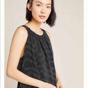 Anthropologie Carly Shimmer Tank Black Size Small